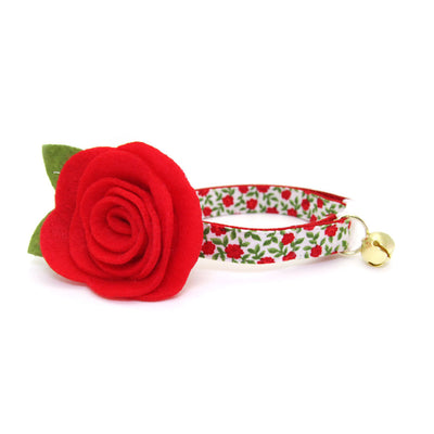 "Cat Collar - ""Antique Rose"" - Red Mini Roses Cat Collar / Valentine's Day - Breakaway Buckle or Non-Breakaway / Cat, Kitten + Small Dog Sizes"