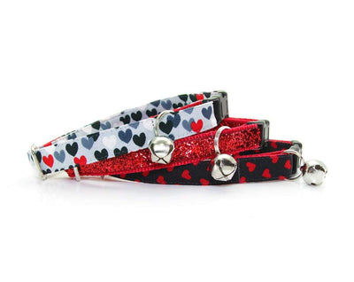 "Cat Collar + Flower Set - ""Secret Admirer"" - Red Hearts on Black Cat Collar w/ Scarlet Felt Flower (Detachable) / Valentine's Day"
