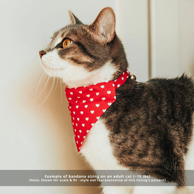 "Pet Bandana - ""Ombre Hearts"" - Red & Pink Heart Bandana for Cat + Small Dog / Valentine's Day Cat Bandana / Slide-on Bandana / Over-the-Collar (One Size)"
