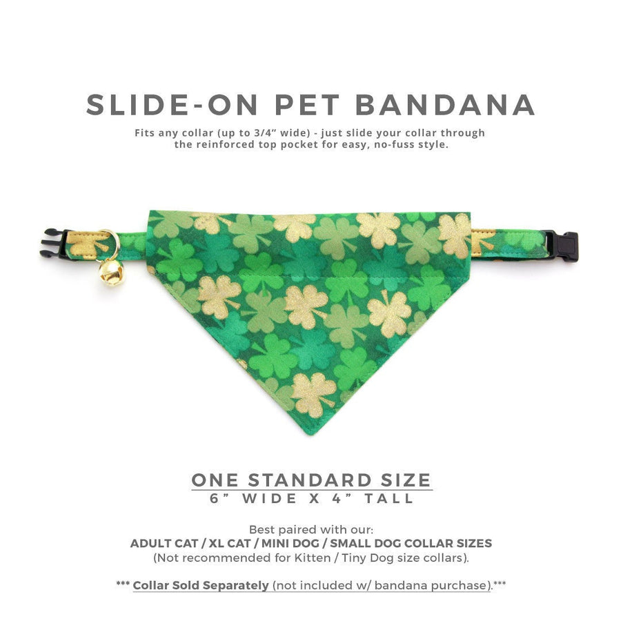 "Pet Bandana - ""Clover Lane"" - St. Patrick's Day / Green & Gold Shamrock Bandana for Cat Collar or Small Dog Collar / Slide-on Bandana / Over-the-Collar (One Size)"