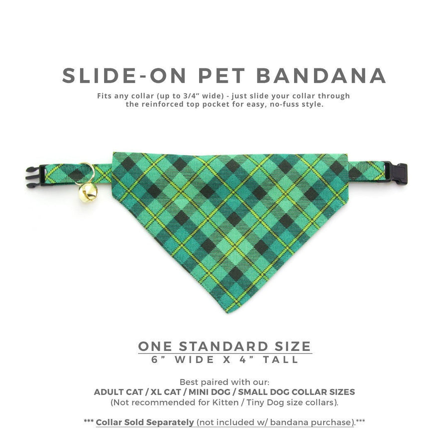 "Pet Bandana - ""Dublin"" - St. Patrick's Day / Green Plaid Bandana for Cat Collar or Small Dog Collar / Slide-on Bandana / Over-the-Collar (One Size)"