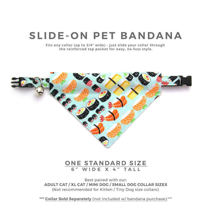 "Sushi Pet Bandana - ""Sushi Date"" - Bandana for Cat Collar or Small Dog Collar / Japanese / Slide-on Bandana / Over-the-Collar (One Size)"