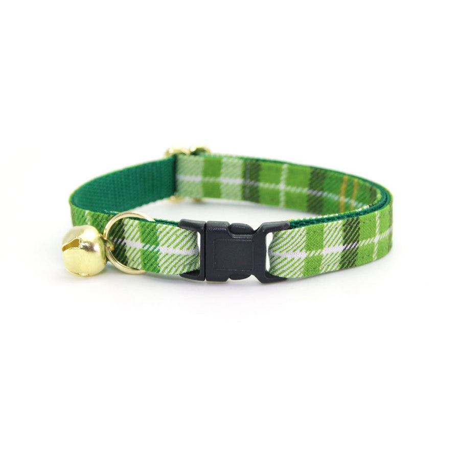 "Plaid Cat Collar - ""Finley"" - Green Cat Collar / St. Patrick's Day / Breakaway Buckle or Non-Breakaway / Cat, Kitten + Small Dog Sizes"