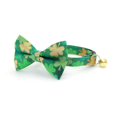 "Bow Tie Cat Collar Set - ""Clover Lane"" - Shamrock Green Cat Collar w/ Matching Bowtie (Removable) / St. Patrick's Day"