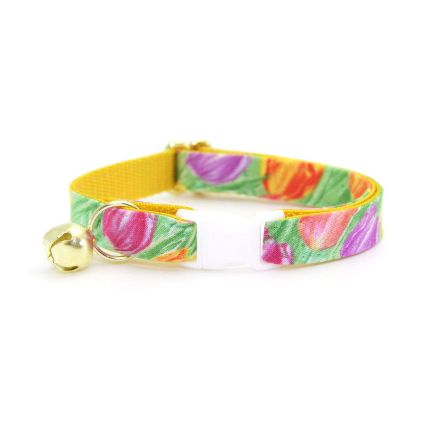 "Cat Collar + Flower Set - ""Spring Tulips"" - Floral Cat Collar w/ Baby Pink Felt Flower (Detachable) / Easter / Mother's Day"