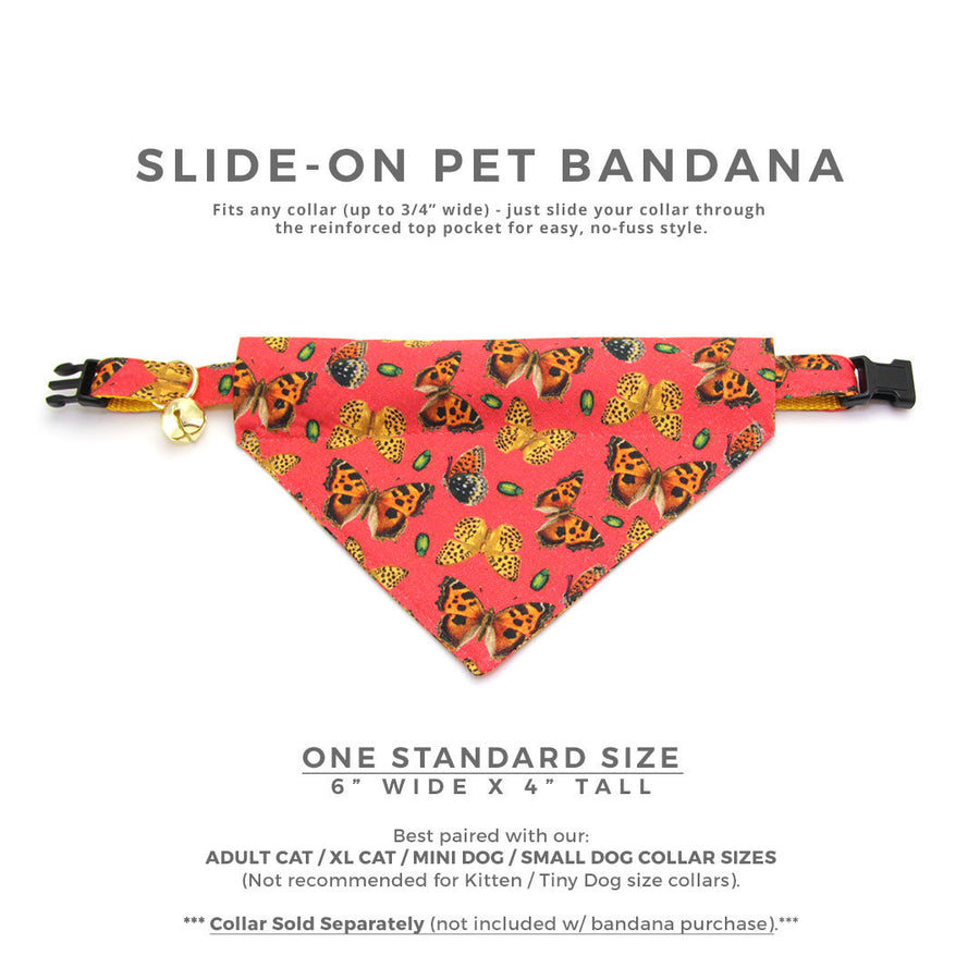 "Butterfly Cat Bandana - ""Butterflies"" - Hibiscus Red Butterfly Bandana for Cat + Small Dog / Monarch / Slide-on Bandana / Over-the-Collar (One Size)"