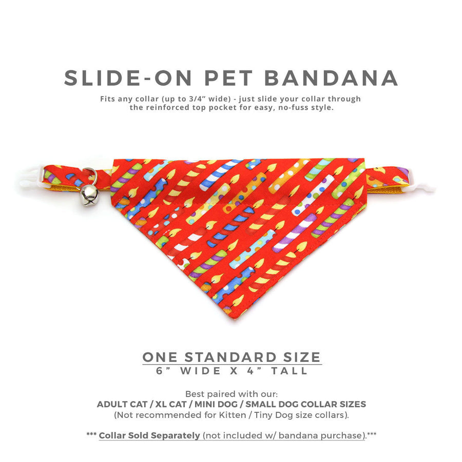 "Birthday Cat Bandana - ""Birthday Candles"" - Party Bandana for Cat + Small Dog / Celebration / Red / Slide-on Bandana / Over-the-Collar (One Size)"