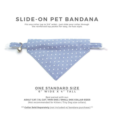 "Chambray Cat Bandana - ""Merritt"" - Light Blue Polka Dot Bandana for Cat + Small Dog / Gift for Cat / Slide-on Bandana / Over-the-Collar (One Size)"