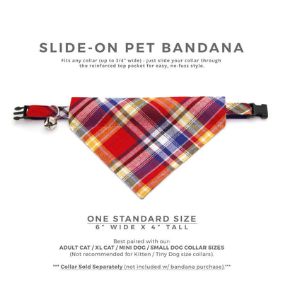"Plaid Cat Bandana - ""Vacation"" - Red Plaid Bandana for Cat + Small Dog / Boy Cat / Country Western / Slide-on Bandana / Over-the-Collar (One Size)"