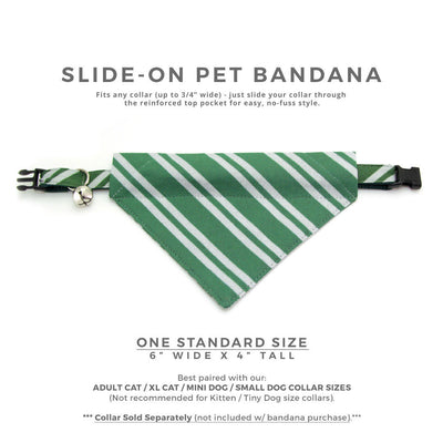 "Cat Bandana - ""Wizarding School / Green""- Harry Potter-Inspired Bandana for Cat + Small Dog / Slytherin / Slide-on Bandana / Over-the-Collar (One Size)"
