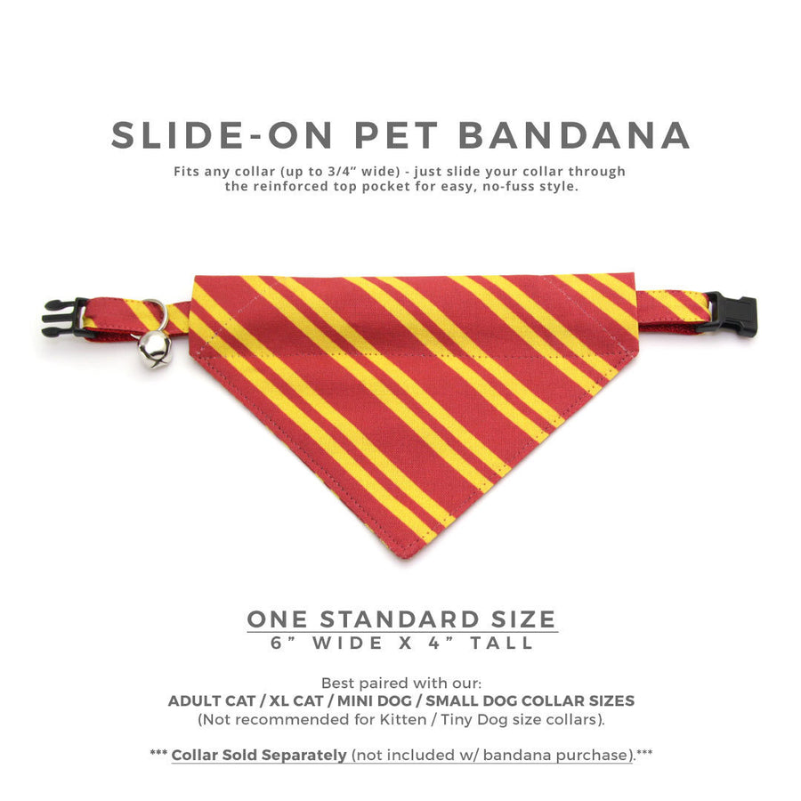 "Cat Bandana - ""Wizarding School / Scarlet""- Harry Potter-Inspired Bandana for Cat + Small Dog / Gryffindor / Slide-on Bandana / Over-the-Collar (One Size)"