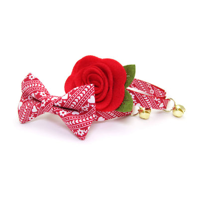 "Pet Bow Tie - ""Adore"" - Red Heart Cozy Sweater Print Bowtie for Cats + Small Dogs / Valentine's Day / One Size"