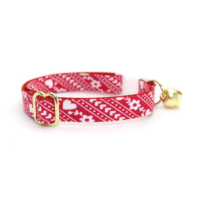 "Cat Collar + Flower Set - ""Adore"" - Red Heart Cozy Sweater Cat Collar w/ Scarlet Felt Flower (Detachable) / Valentine's Day"