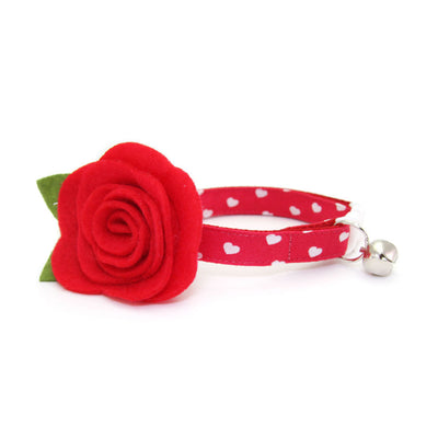 "Cat Collar - ""Love Song"" - Red Heart Cat Collar / Valentine's Day - Breakaway Buckle or Non-Breakaway / Cat, Kitten + Small Dog Sizes"