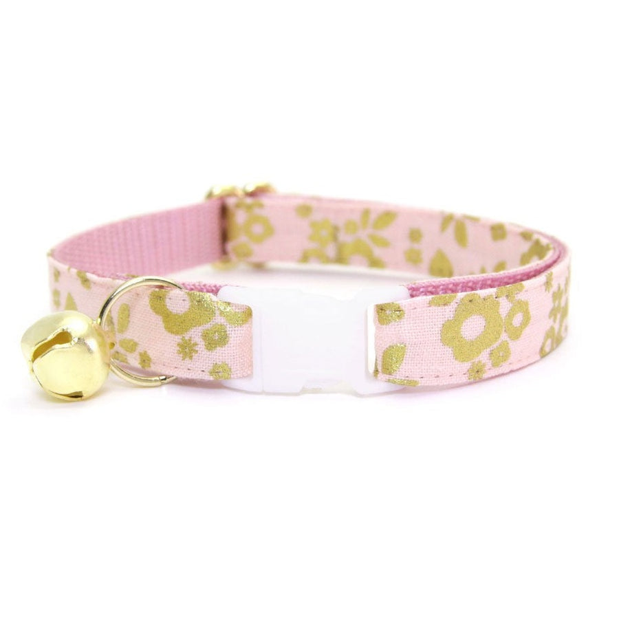 "Cat Collar - ""Primrose Pink - Blush Pink & Gold Floral Cat Collar - Breakaway Buckle or Non-Breakaway / Cat, Kitten + Small Dog Sizes"