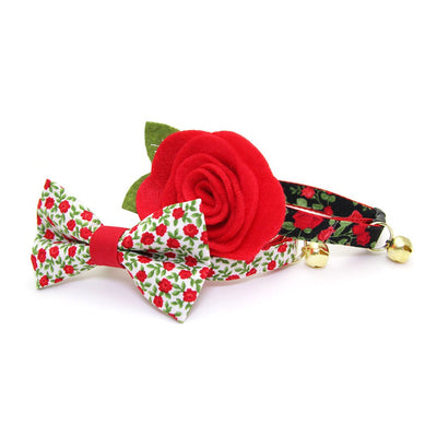 "Cat Collar + Flower Set - ""Rose Garden"" - Roses on Black Cat Collar w/ Scarlet Felt Flower (Detachable) / Valentine's Day"