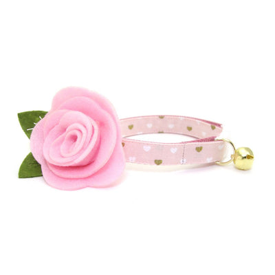 "Cat Collar + Flower Set - ""Devotion - Pink"" - Gold Mini Hearts on Light Pink Cat Collar w/ Baby Pink Felt Flower (Detachable) / Valentine's Day"
