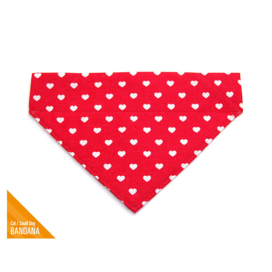 "Pet Bandana - ""Love Song"" - Valentine's Day Red Heart Bandana for Cat Collar or Small Dog Collar / Slide-on Bandana / Over-the-Collar (One Size)"
