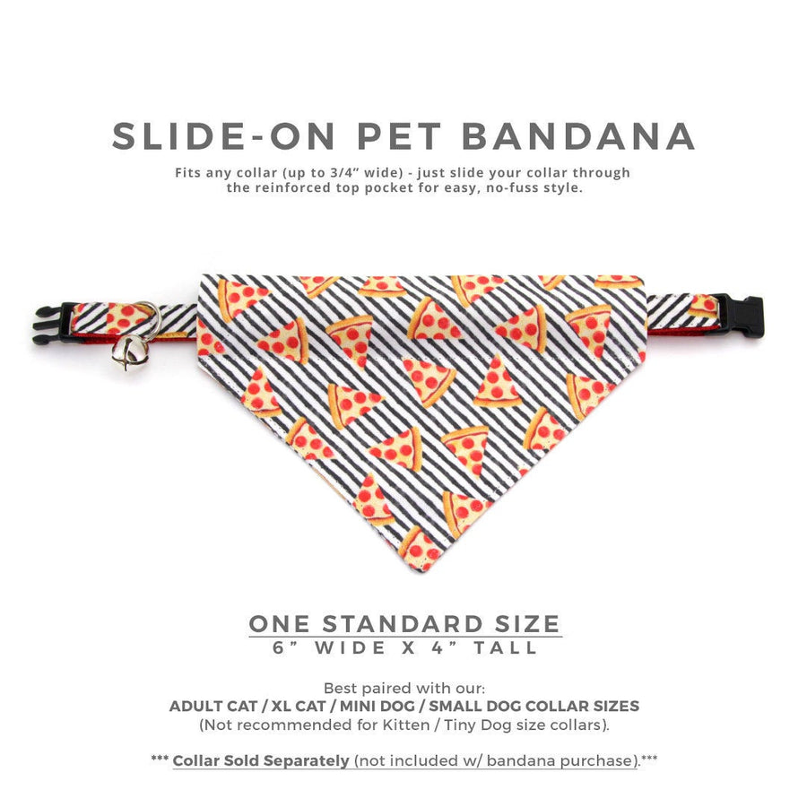 "Pizza Cat Bandana - ""Pizza Party"" - Bandana for Cat Collar or Small Dog Collar / Slide-on Bandana / Over-the-Collar (One Size)"