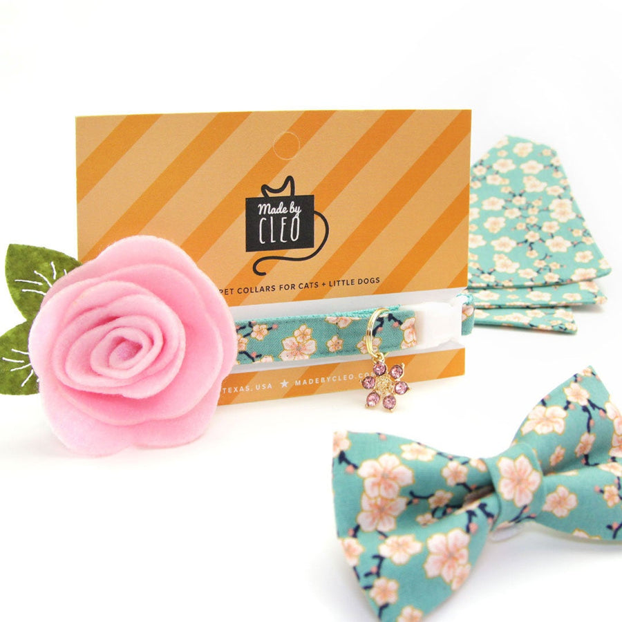 "Pet Bow Tie - ""Cherry Blossoms"" - Teal Mint Floral Bow Tie / Spring / Easter / Mother's Day / For Cats + Small Dogs (One Size)"