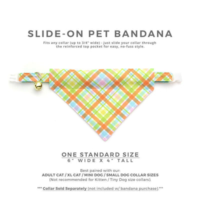 "Pet Bandana - ""Carrot Patch"" - Spring Plaid / Easter Bandana for Cat Collar or Small Dog Collar / Slide-on Bandana / Over-the-Collar (One Size)"
