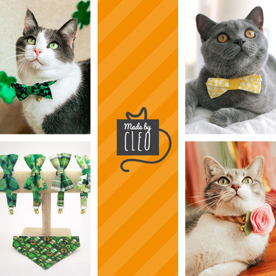 "Pet Bow Tie - ""Clover Lane"" - Shamrock Bow Tie / St. Patrick's Day / Irish / For Cats + Small Dogs (One Size)"