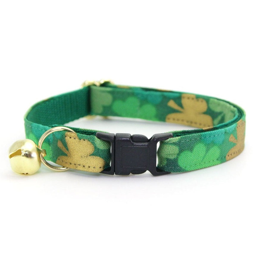 "Cat Collar - ""Clover Lane"" - St. Patrick's Day Shamrock Cat Collar / Breakaway Buckle or Non-Breakaway / Cat, Kitten + Small Dog Sizes"
