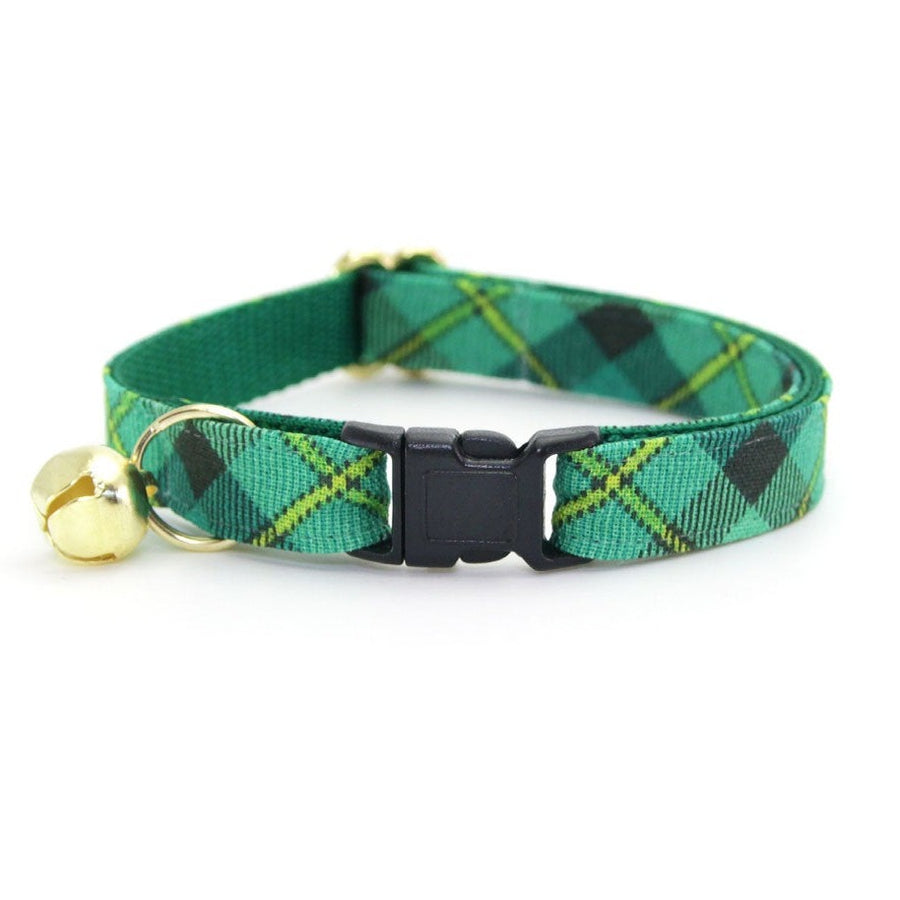 "Plaid Cat Collar - ""Dublin"" - Green Cat Collar / St. Patrick's Day / Breakaway Buckle or Non-Breakaway / Cat, Kitten + Small Dog Sizes"
