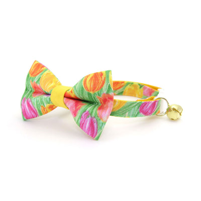 "Easter Cat Collar - ""Spring Tulips"" - Floral Cat Collar / Breakaway Buckle or Non-Breakaway / Cat, Kitten + Small Dog Sizes"
