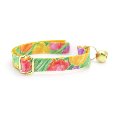 "Cat Collar + Flower Set - ""Spring Tulips"" - Floral Cat Collar w/ Buttercup Felt Flower (Detachable) / Easter / Mother's Day"