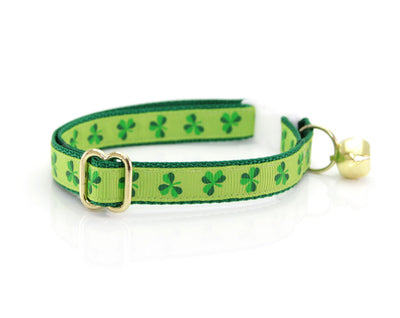 "Cat Collar + Flower Set - ""Shamrock Fields"" - St. Patrick's Day Green Cat Collar w/ Clover Green Felt Flower (Detachable) / St. Patrick's Day"