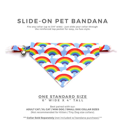 "Pet Bandana - ""Rainbow Magic"" - 80s Retro Bandana for Cat + Small Dog / Birthday / LGBTQ Pride / Slide-on Bandana / Over-the-Collar (One Size)"