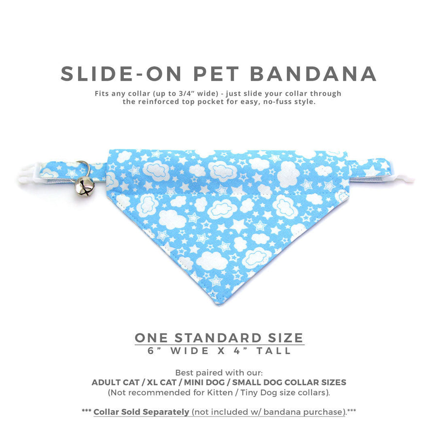"Glow-in-the-Dark Cat Bandana - ""Cloud City"" - Sky Blue Bandana for Cat + Small Dog / Birthday / Gift / Slide-on Bandana / Over-the-Collar (One Size)"