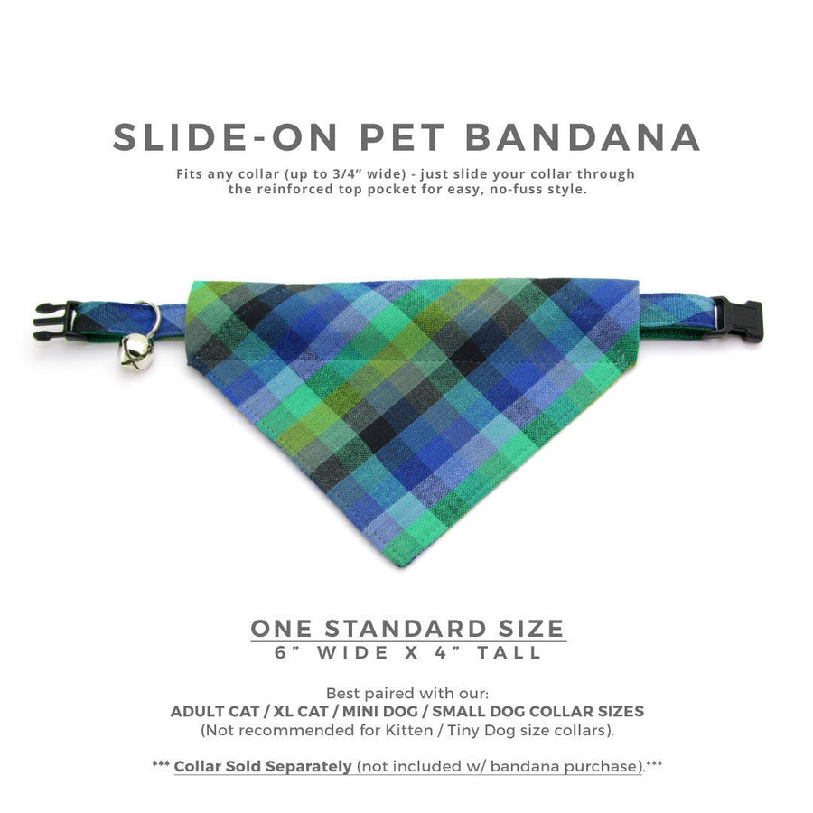 "Plaid Cat Bandana - ""Moonrise"" - Green & Blue Madras Plaid Bandana for Cat + Small Dog / Slide-on Bandana / Over-the-Collar (One Size)"