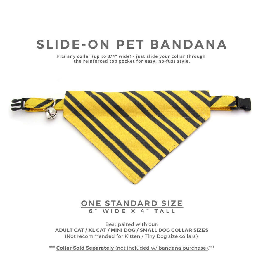 "Cat Bandana - ""Wizarding School / Yellow""- Harry Potter-Inspired Bandana for Cat + Small Dog / Hufflepuff / Slide-on Bandana / Over-the-Collar (One Size)"