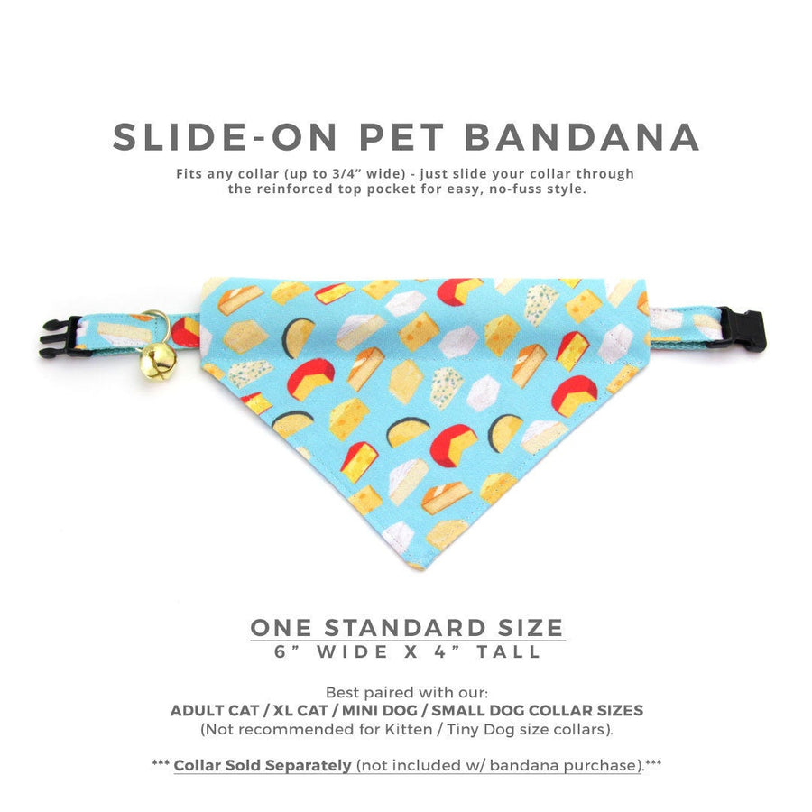 "Cheese Cat Bandana - ""Say Cheese"" - Foodie Bandana for Cat Collar or Small Dog Collar / Slide-on Bandana / Over-the-Collar (One Size)"