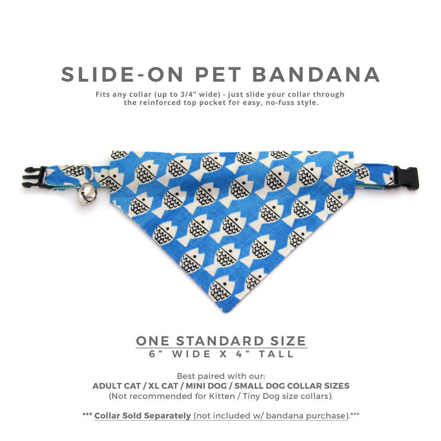 "Pet Bandana - ""Under the Sea"" - Ocean Blue Fish Bandana for Cat Collar or Small Dog Collar / Slide-on Bandana / Over-the-Collar (One Size)"