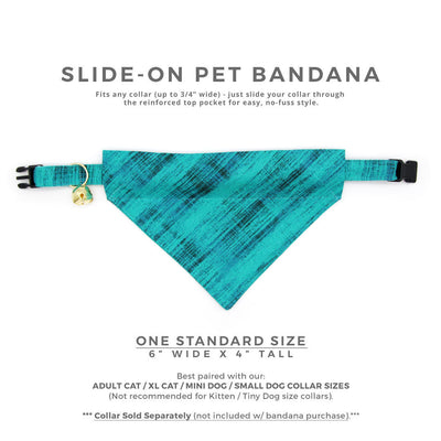 "Pet Bandana - ""Vintage Haze - Turquoise"" - Vibrant Teal Textured Bandana for Cat Collar or Small Dog Collar / Slide-on Bandana / Over-the-Collar (One Size)"