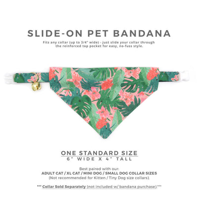 "Pet Bandana - ""Tropic Paradise"" - Monstera Palm Leaf Bandana for Cat Collar or Small Dog Collar / Slide-on Bandana / Over-the-Collar (One Size)"