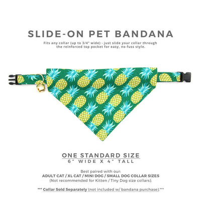 "Pet Bandana - ""Pineapple Aqua"" - Green Pineapple Bandana for Cat Collar or Small Dog Collar / Slide-on Bandana / Over-the-Collar (One Size)"