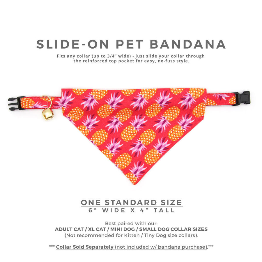 "Pet Bandana - ""Pineapple Berry"" - Red Pineapple Bandana for Cat Collar or Small Dog Collar / Slide-on Bandana / Over-the-Collar (One Size)"
