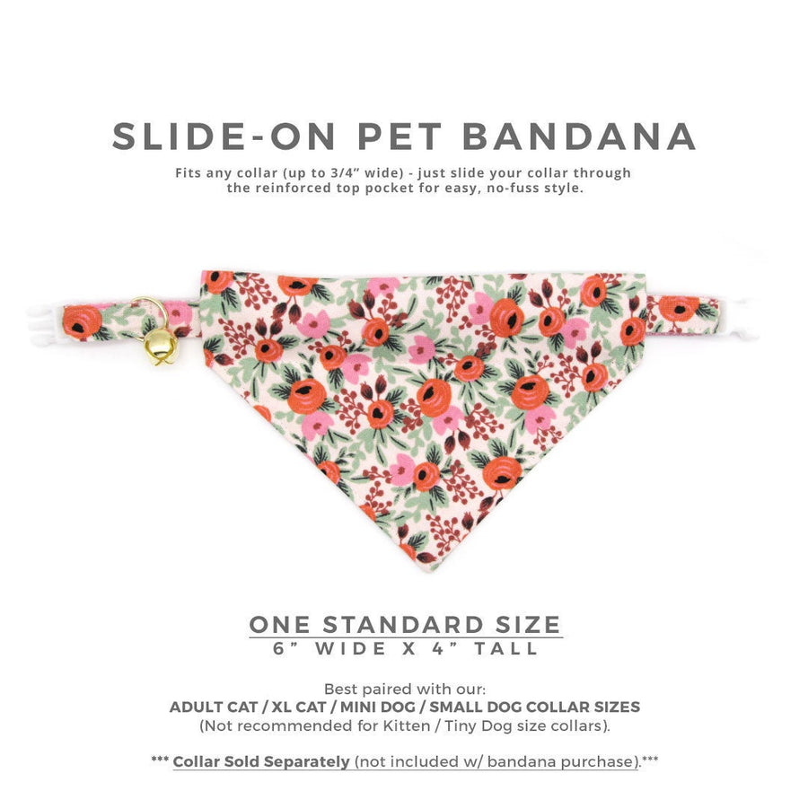 "Rifle Paper Co® Pet Bandana - ""Juliet"" - Blush Floral Bandana for Cat + Small Dog / Slide-on Bandana / Over-the-Collar (One Size)"