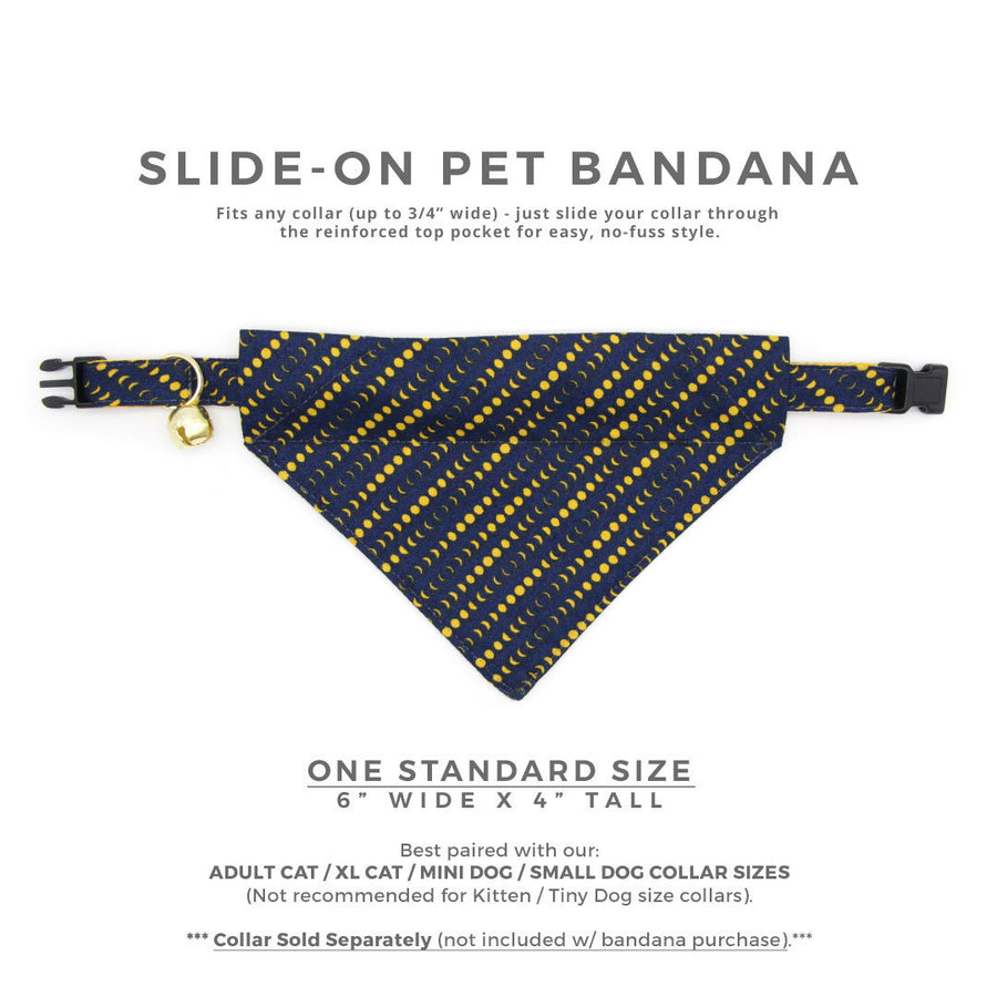 "Pet Bandana - ""Moon Phases"" - Navy Blue + Yellow Moon Bandana for Cat + Small Dog / Lunar Eclipse, Star Party, Astronomy / Slide-on Bandana / Over-the-Collar (One Size)"