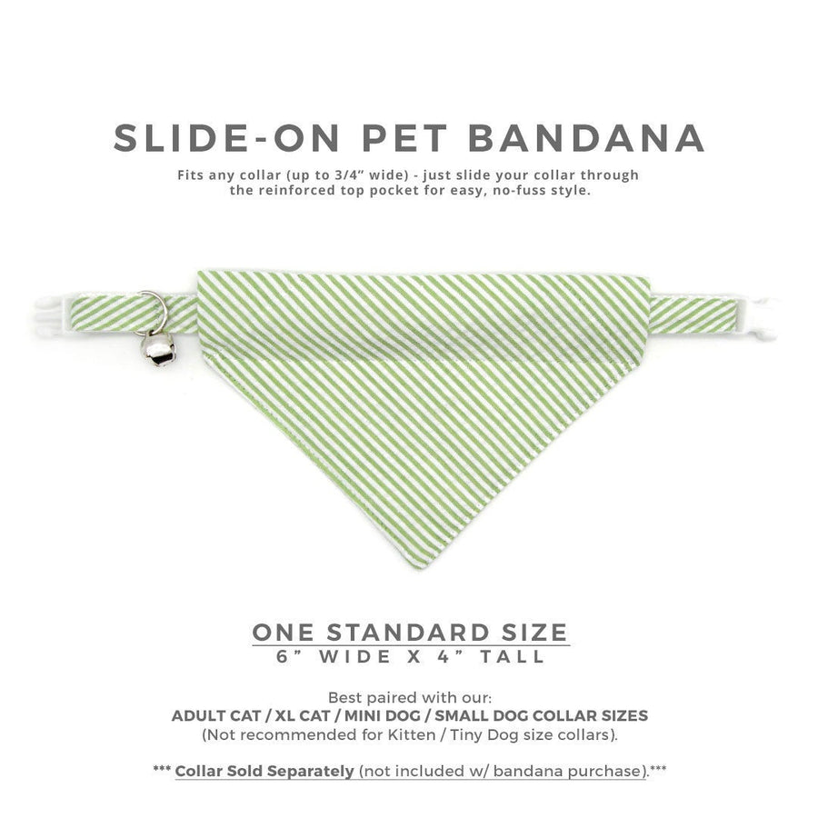 "Pet Bandana - ""Camden"" - Seersucker Green Bandana for Cat + Small Dog / Spring, Summer, Preppy / Slide-on Bandana / Over-the-Collar (One Size)"