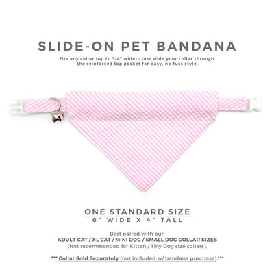 "Pet Bandana - ""Posey"" - Seersucker Pink Bandana for Cat + Small Dog / Spring, Summer, Preppy / Slide-on Bandana / Over-the-Collar (One Size)"