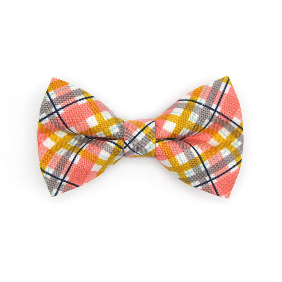 "Bow Tie Cat Collar Set - ""Daydreamer"" - Yellow Plaid Cat Collar w/ Matching Bowtie / Cat, Kitten, Small Dog Sizes"
