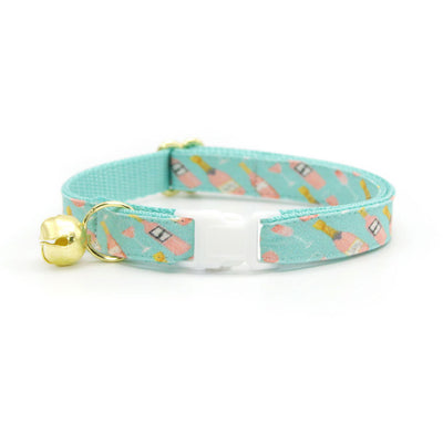 "Bow Tie Cat Collar Set - ""Rosé All Day"" - Pink Rose Wine + MintCat Collar w/ Matching Bowtie / Cat, Kitten, Small Dog Sizes"