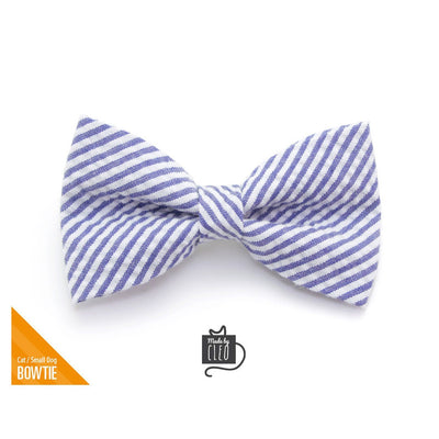 "Pet Bow Tie - ""Newport"" - Indigo Blue Seersucker Bow Tie for Cat / Spring, Summer, Derby / For Cats + Small Dogs (One Size)"