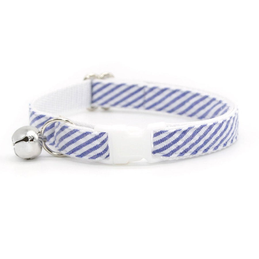 "Cat Collar - ""Newport"" - Indigo Blue Seersucker Collar / Breakaway Buckle or Non-Breakaway / Cat, Kitten + Small Dog Sizes"