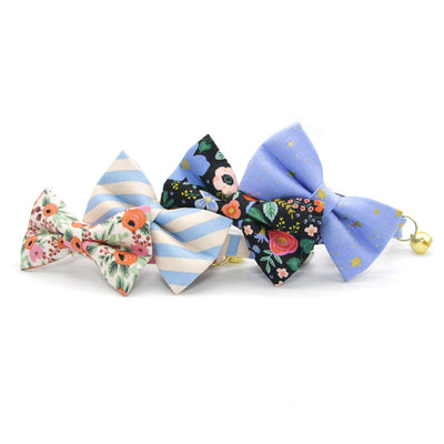 "Rifle Paper Co® Bow Tie Cat Collar Set - ""Dandy"" - Peach & Periwinkle Blue Stripe Cat Collar w/ Matching Bowtie / Cat, Kitten, Small Dog Sizes"